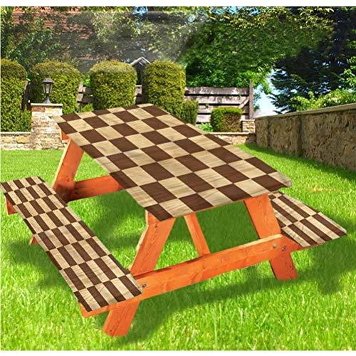 Mantel de mesa y banco de picnic a cuadros, mantel de madera con borde elástico de madera de ajedrez, 28 x 72 pulgadas, juego de 3 piezas para camping, comedor, exterior, parque, patio