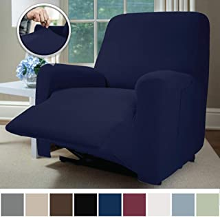 Sofa Shield Original Fitted 1 Piece Recliner Slipcover, Soft Stretch Material, Seat Width Up to 28 Inch Furniture Protector, Washable Covers for Recliners, Spandex Fit Slip Cover, Recliner, Navy Blue
