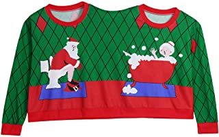 Christmas Novelty Couples Pullover Blouse, Koolee Two Person Ugly Sweater Xmas Top Shirt for Unisex