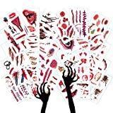 30 Sheets Halloween trick or treat tattoos, Fake-blood makeup ideas, Waterproof ghost zombie theme stickers, Bloody bites & scars, Spooky Thriller bugs, 3.82' x 2.25' inches(30Sheets)