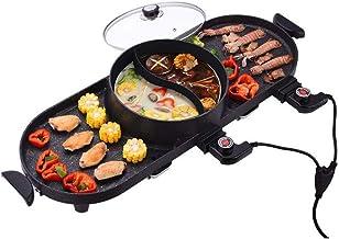 SKREOJF Grills électriques crêpière ménagers BBQ Machine Raclette Hotpot température réglable Smokeless Barbecue Pan Pot