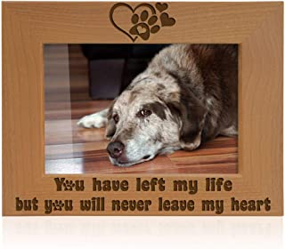 Kate Posh You Have Left My Life, but You Will Never Leave My Heart Natural Wood Engraved Picture Frame, Paw Prints on My Heart Memorial Gifts for Cat or Dog, Pet Sympathy Memory Gift (4x6 Horizontal)