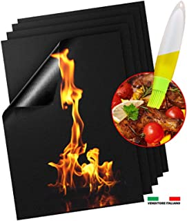 Set de 5 Tapis de Cuisson Tapis BBQ Barbecue Plaque Feuille de Cuisson Four pour Barbecue gaz Charbon électrique 100% Ant...