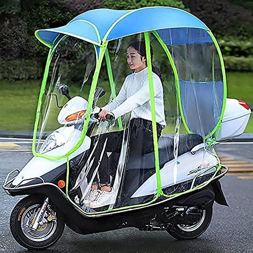 SKYWPOJU Paraguas de Scooter de Motor eléctrico Totalmente Cerrado Movilidad Parasol y Cubierta de Lluvia Impermeable, Universal, sin Espejo retrovisor (Color : Blue)
