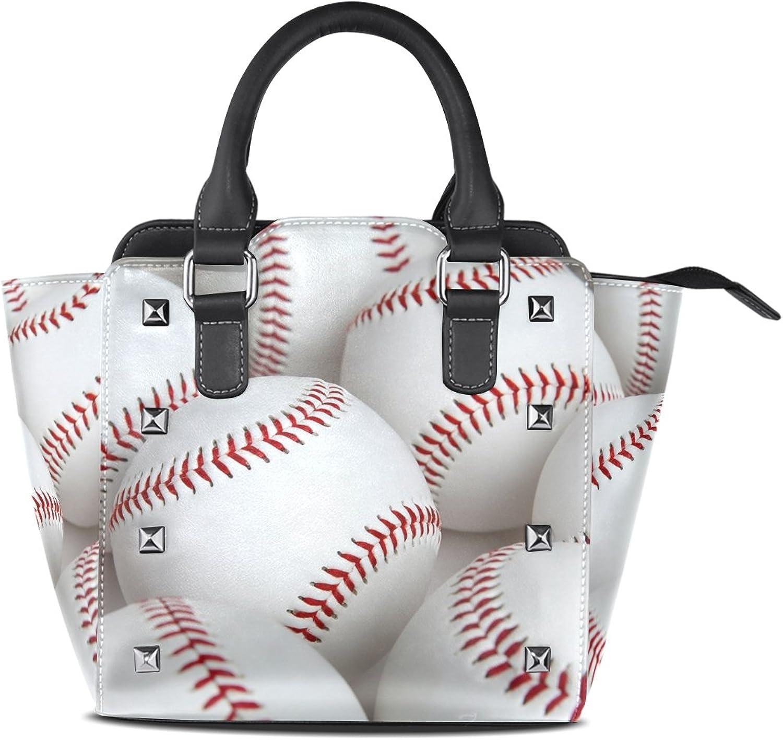 My Little Nest Women's Top Handle Satchel Handbag Baseballs Ladies PU Leather Shoulder Bag Crossbody Bag