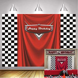 GYA 7x5ft Car Black White Grid Red Birthday Themed Backdrops Racing Flag Red Photo Backgrounds for Photography Happy Birth...