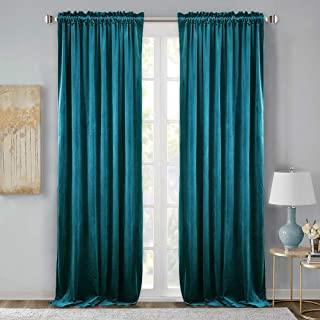 StangH Velvet Blackout Drape Curtains- Extra Long Luxury Home Decoration Velvet Curtains Thermal Insulated Patio Door Panels for Dinning Room, Teal, W52 x L108 inches, 2 Pcs