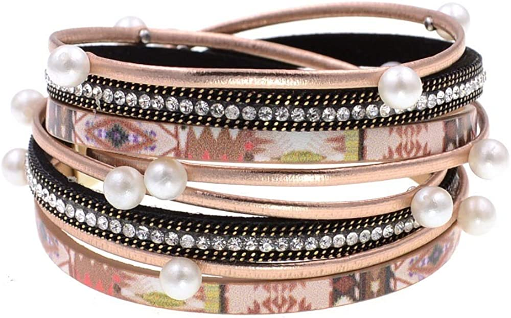 Dealing full price reduction New Stlye Beads Leather Bracelets For Wo Wrap Laps Two Quality inspection