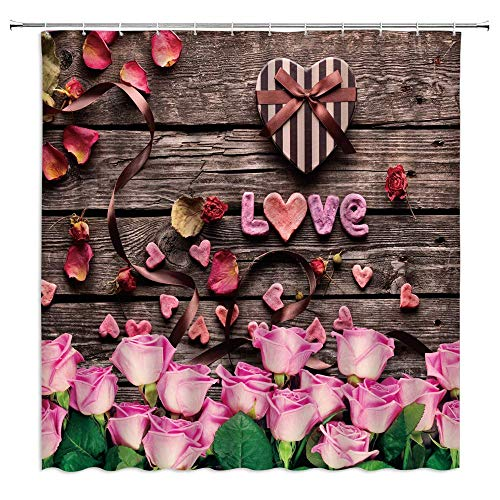 AdaCrazy Rosa Rose Duschvorhänge Blume Blumen Schokolade Vintage Geschenk Valentine Board Badezimmer Gardinen Dekor Polyester Stoff Schnelltrocknende 72x72 Zoll enthalten Haken