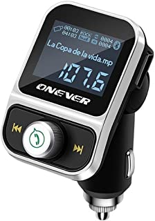 Bluetooth FM Transmitter for Car, ONEVER Wireless Bluetooth Radio Transmitter Adapter with Hand-Free Calling and 1.44 inch LCD Display, Music Player Support TF Card USB Flash Drive AUX Input/Output