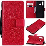XYX Wallet Case for Galaxy A30,[Sun Flower] Premium Flip PU Leather Magnetic Closure TPU Bumper Slim Fit Cover for Samsung Galaxy A30 SM-A305, Red