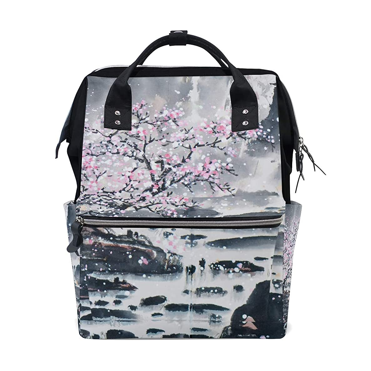 Chinese Landscape Plum Painting School Backpack Large Capacity Mummy Bags Laptop Handbag Casual Travel Rucksack Satchel For Women Men Adult Teen Children