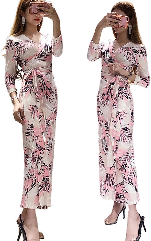 XC DVF Causal Women 3 4 Sleeve Summer Dress Vintage Floral Print Wrap Beach Dress with Belt