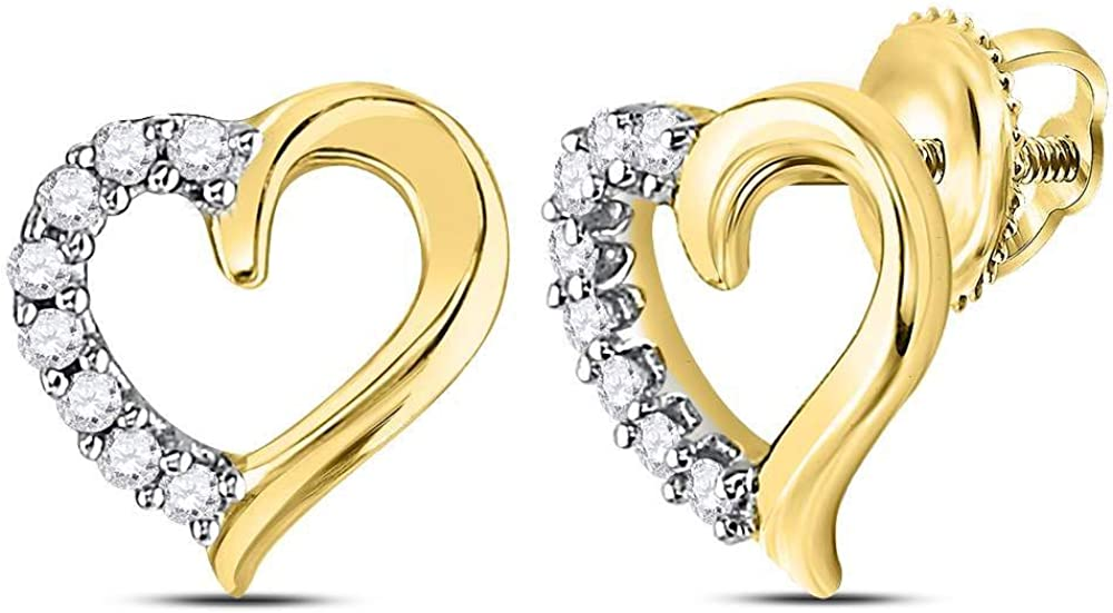Diamond Studs Solid 10k Yellow 2021 new Gold Earrings 10 1 Heart .1 Ctw. Ranking TOP16
