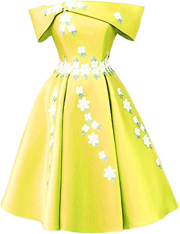 DKBridal Off The Shoulder Satin Prom Gowns Short Floral Homecoming Dresses for Women 2018