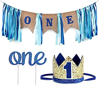 Free Yoka 1st Birthday Decorations Kit for Boy Blue ONE Chair Banner Glitter Crown Cake Topper