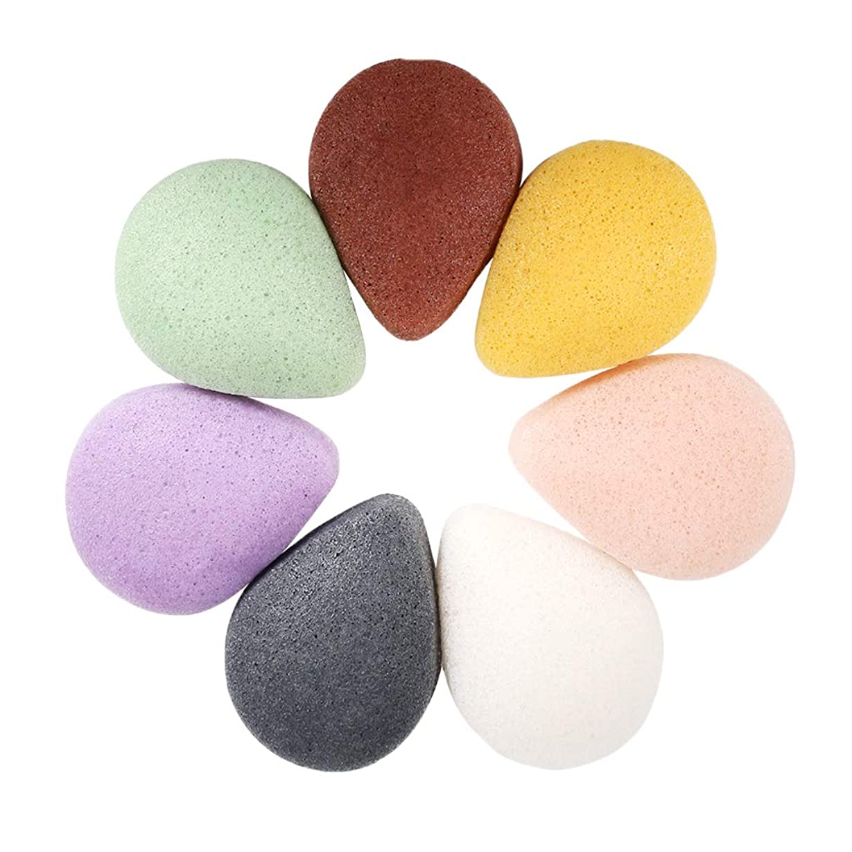 構造的剥ぎ取る支援するFLAMEER 5個 コンニャク クレンジングスポンジ フェイシャル 顔洗い パッド 2サイズ選べ - 楕円形