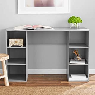 Mainstay` Student Desk, Black (6 Cube Storage Desk, Gray)