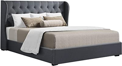 Artiss King Bed Frame, Gas Lift Storage Bed Base Fabric, Charcoal