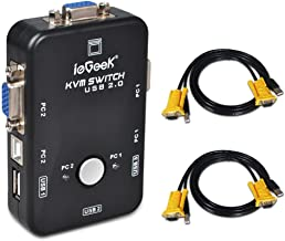 ieGeek® USB KVM Switch Box + VGA USB Cables for PC Monitor/Keyboard/Mouse Control (2 Port), [Importado de Reino Unido]