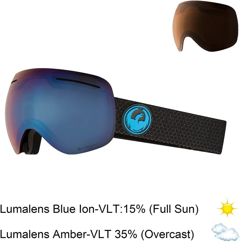Dragon Alliance X1 Ski Goggles, Large, Black, Split Luma blueee Ion Lens