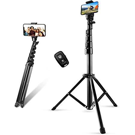 """Phone Tripod Stand & Selfie Stick Tripod, Sosirolo 62"""" All in One Extendable Cell Phone Tripod with Wireless Remote and Phone Holder, Flexible Cellphone Tripod for iPhone/Android/Camera"""