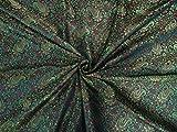 Seiden-Brokat-Stoff, grün, rot x schwarz, 111,8 cm von The