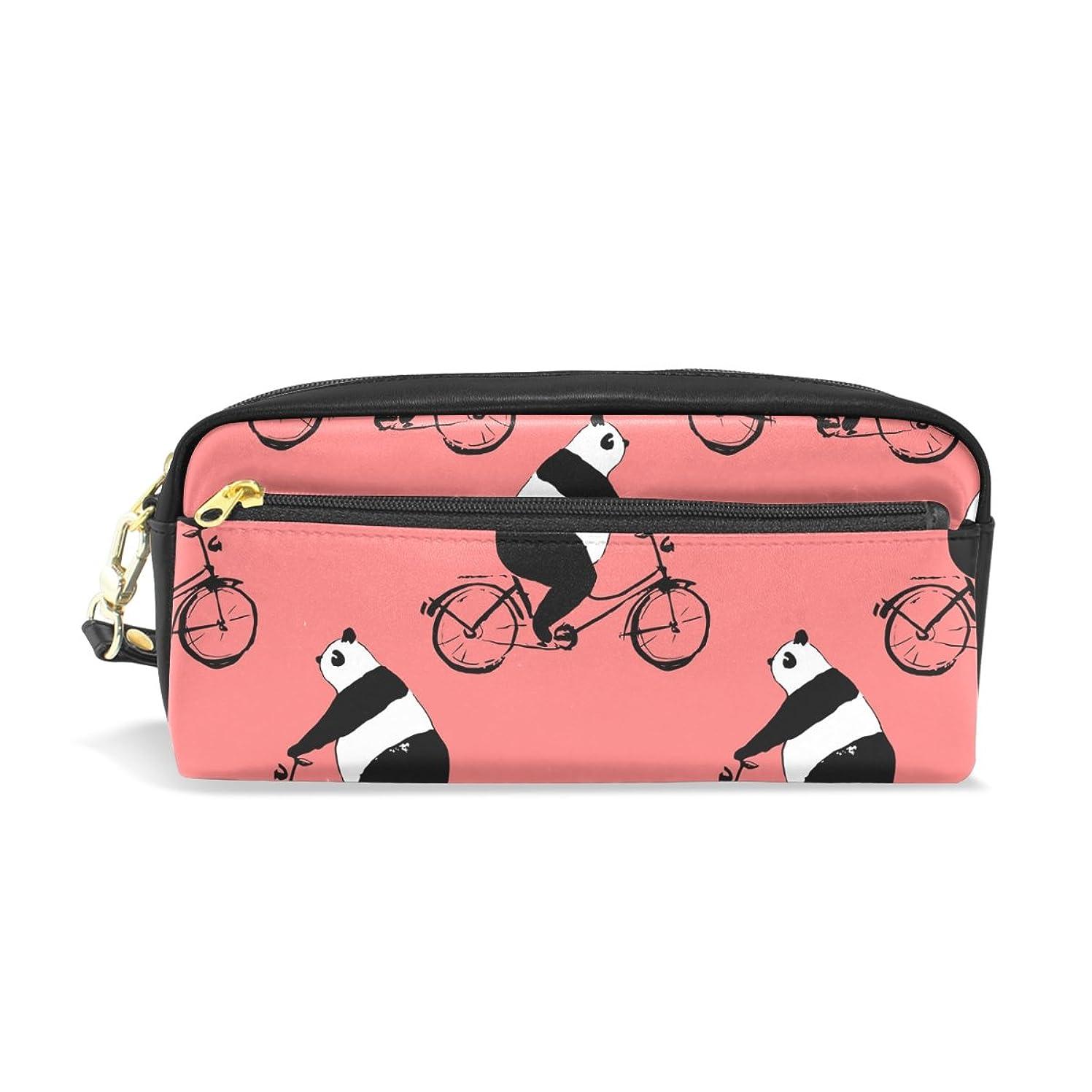 使役視聴者子供っぽいAOMOKI ペンケース 化粧ポーチ 小物入り 多機能バッグ パンダ 自転車