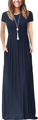 VIISHOW Women's Short Sleeve Empire Waist Maxi Dresses Long Dresses with Pockets
