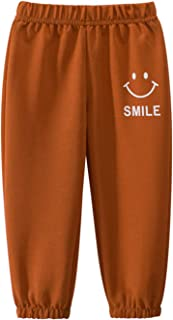 kawai baby Little Boys Girls Solid Color Smile Face Print Athletic Sweatpants Elastic Waist Casual Jogging Trousers