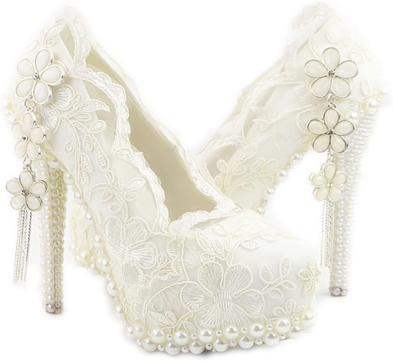 Lacitena Lace Bridal Flowers shoes White Pearl Lace Wedding Bridal shoes Women