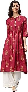 ALENA Women 3/4 Sleeve Maroon Anarkali Printed Cotton Kurta.