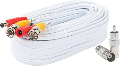 BNC Video Power Cable 60 Feet Pre-Made All-in-One Video Security Camera Cable Wire with Two Connectors for CCTV DVR Surveillance System