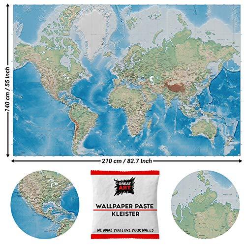 Great Art fotobehang wereldkaart blauw continent 210 x 140 cm - 5 Teile + Kleister Weltkarte