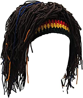 Funny Wig Beard Hats Handmade Knitted Beanie Rasta Hat with Dreadlocks Christmas Halloween Caps