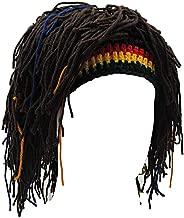 Kirmoo Funny Wig Beard Hats Handmade Knitted Beanie Rasta Hat with Dreadlocks Christmas Halloween Caps