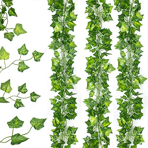 LongSky 12 Strands Artificial Ivy Leaf Plants 84 Feet Fake Vine Hanging Garland Home Kitchen Garden Office Wedding Wall Decor, Green