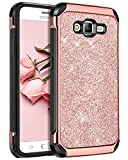 BENTOBEN Galaxy On5 Case,Samsung Galaxy On5 Case,2 in 1 Leather Glitter Bling Hybrid Slim Hard Cover Sparkly Shiny Chrome Shockproof Fully Protective Case for Samsung Galaxy On5/G550T,Rose Gold