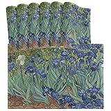 Vincent Van Gogh Irises Flower Artwork - Juego de 6 manteles Individuales, Resistentes al Calor, Lavables, limpios, de Cocina para la decoración de la Mesa de Comedor