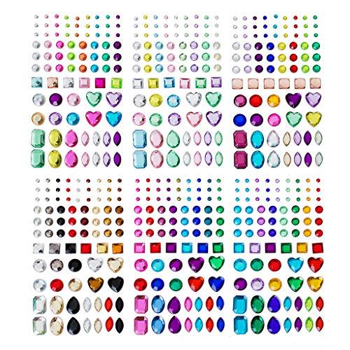 Feelairy 486 Stück Strasssteine Selbstklebend Bunt, 6 Blätter Acryl Schmucksteine Aufkleber zum Basteln Glitzersteine zum Aufkleben Crystal Edelstein in Verschiedenen Größen und Formen für Mädchen