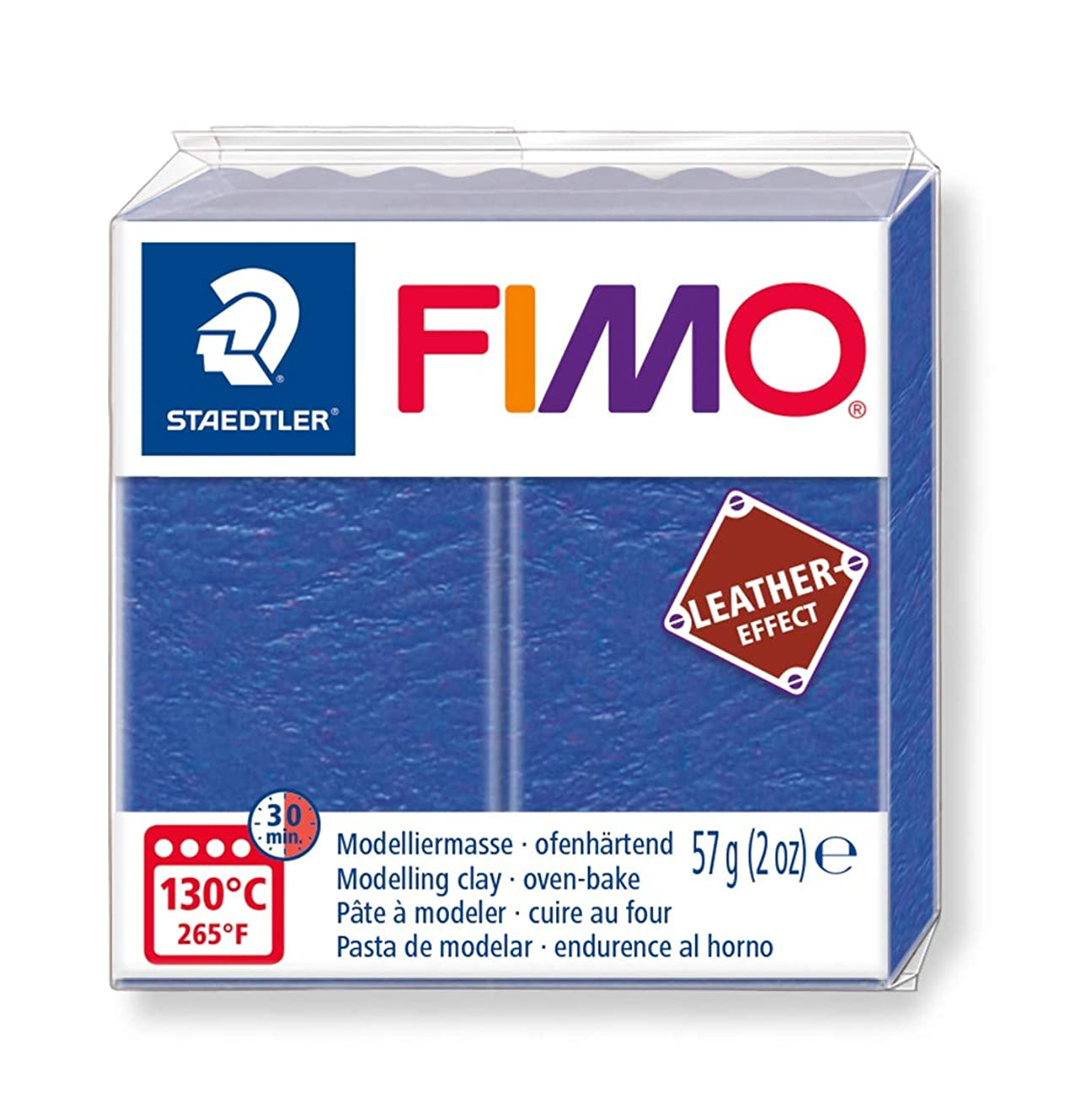 STAEDTLER ST FIMO Leather-Effect Oven-Hardening Modelling Clay for Creative Objects Leather Look Leather-Like Look and Feel Indigo Colour 8010-309