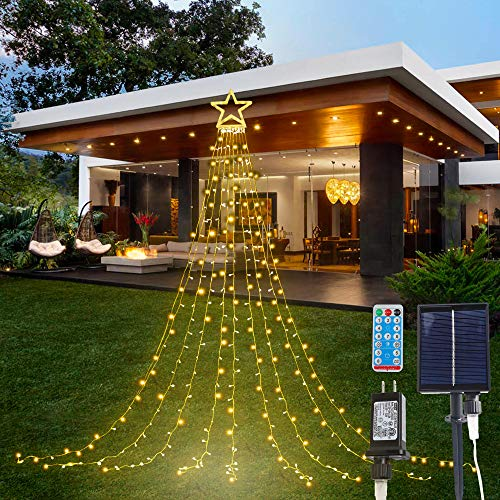 PUHONG Christmas Decorations Star Lights, 320 LED Christmas Tree Toppers Lights Outdoor,16.4Ft String Lights 8 Memory Modes with 14' Lighted Star for Xmas New Year (Solar-Plastic-Warm White)
