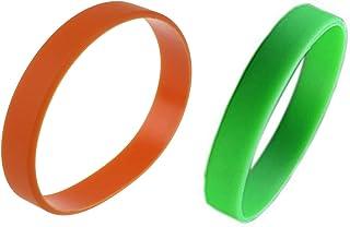 ACAMPTAR - Pulsera elástica de goma de silicona, 2 unidades, color verde y naranja