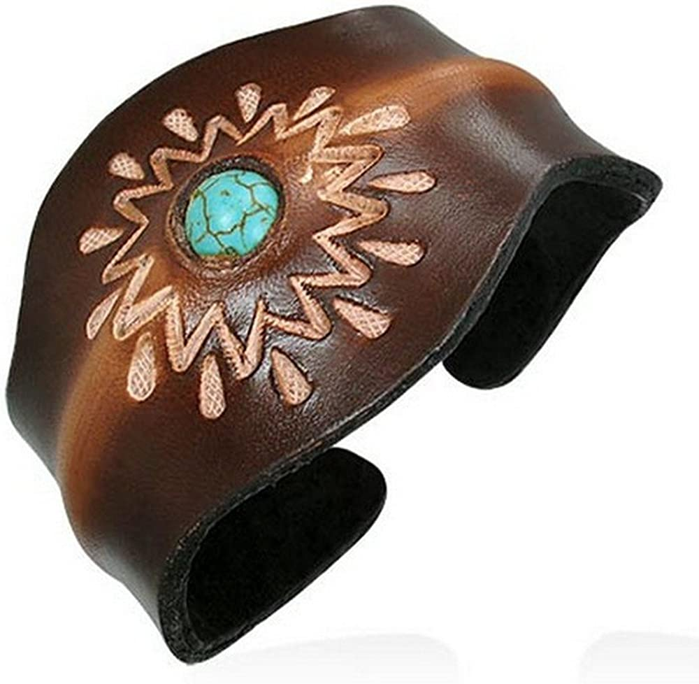 My Daily Styles Brown Tan Leather Blue Turquoise-Tone Engraved Cuff Bangle Womens Adjustable Bracelet