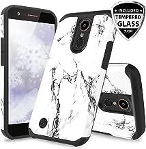 TJS Case for LG Aristo 2/Aristo 2 Plus/Aristo 3/Aristo 3 Plus/Tribute Dynasty/Tribute Empire/Fortune 2/Rebel 3 LTE [Full Coverage Tempered Glass Screen Protector] Hybrid Armor Marble Phone (White)