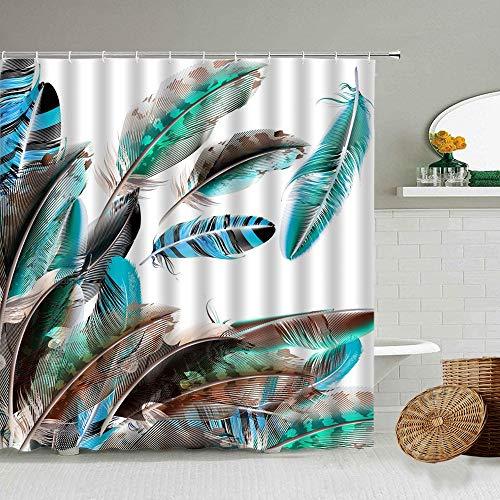 XCBN Cortina de Ducha con patrón de Plumas de Pavo Real, Color Art, baño, bañera, Cortinas Impermeables, decoración de la Pared del hogar, A12, 90x180cm