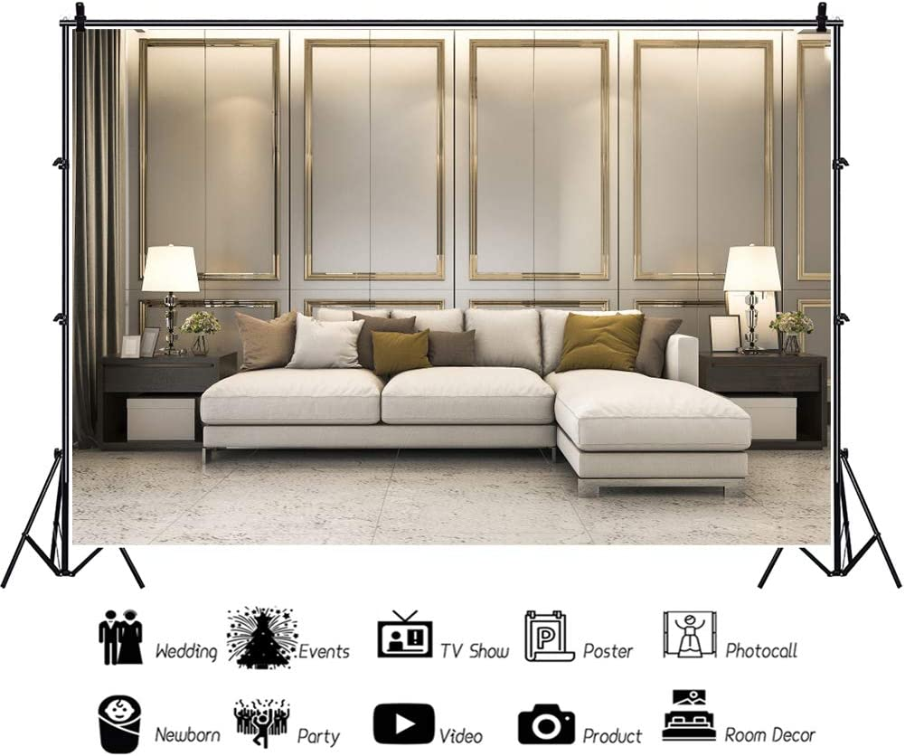 Haoyiyi 7x5ft European Frame Modern House Vintage Room Inside Interior Backdrop Baroque Classic Living Room Sofa Table Lamp Background Photography Wedding Cowboy Kids Birthday Photo Booth Prop