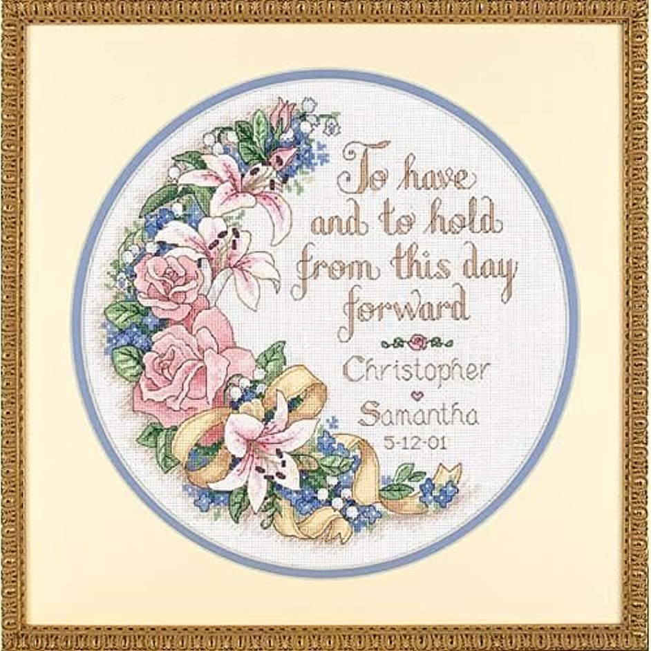 Dimensions Counted Cross Stitch Kit Floral 'To Have and To Hold' Wedding Record , 14 Count White Aida, 12'' D