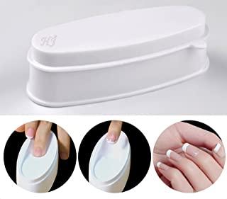 ABS Durable Easy French Dip Tray Dipping Powder Container Dual Use for Short Extended Nails Molding for White Pink Smile Line Pack of 1, HJ-NAT117