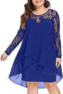 FAPIZI Women Solid O-Neck Asymmetrical Hem Lace Chiffon Long Sleeve Casual Plus Size Mid Dress